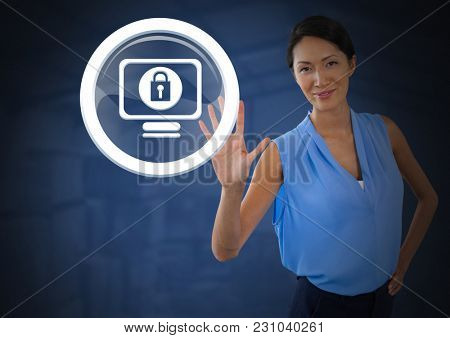 Digital composite of Businesswoman holding hand open security lock icon