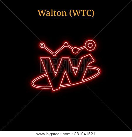 Red Neon Walton (wtc) Cryptocurrency Symbol. Vector Illustration Eps10 Isolated On Black Background