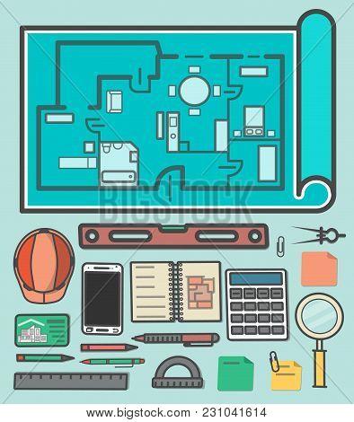 Architectural Studio Icons  Illustration. Building Project, Design And Construction Management, Esta