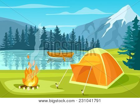 Summer Tourist Camp In Forest Near Lake  Illustration. Campfire And Tourist Tent On River Bank. Camp