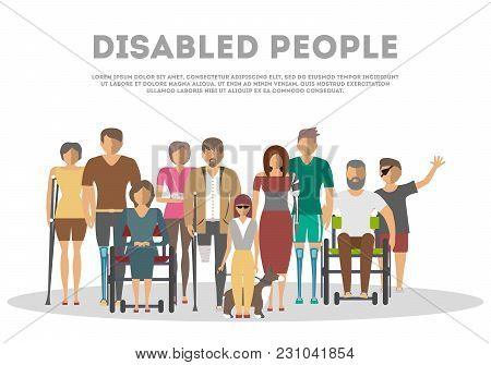 Disabled People Banner In Flat Style  Illustration. Invalid Persons, Blind Woman, Broken Arm, People