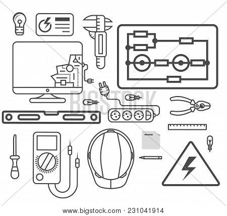 Electricity Engineering Icon Set  Illustration. Electrician Professional Instrument, Repair And Main