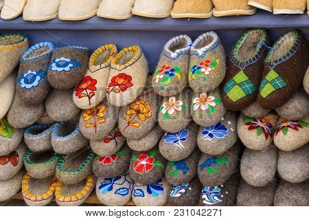 Russia, Suzdal, September 2017. Traditional Russian Boots On A Sales Counter.