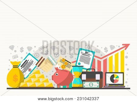 Investment In Securities  Illustration. Flat Line Design Concept For Securities Market, Smart Invest