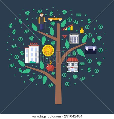 Investment In Old Age Infographics With Money Tree  Illustration. Presentation Of Retirement Money P