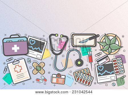 Medicine Top View Banner In Line Art Style  Illustration. Healthcare Diagnosis And Treatment, Pharma