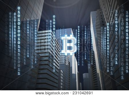 Digital composite of Bit coin icon and binary code lines in sky in 3D city buildings