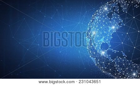 Blockchain technology futuristic hud background with world globe and blockchain polygon peer to peer network. Global cryptocurrency blockchain business banner concept.