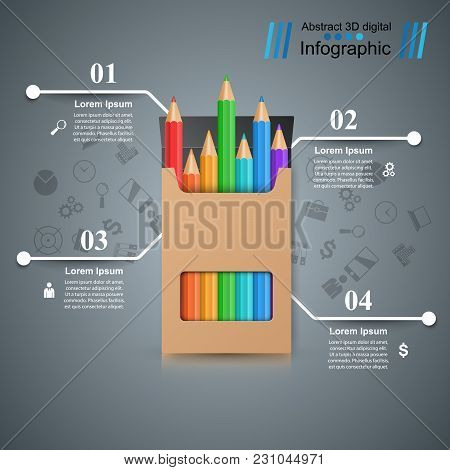 Pencil, Education Icon. Business Infographic Vector Eps 10