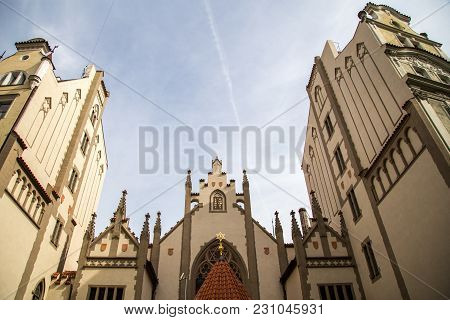 Prague, Czech Republic - March 17, 2017: Exterior View Of Maisel Synagogue In The Jewish District