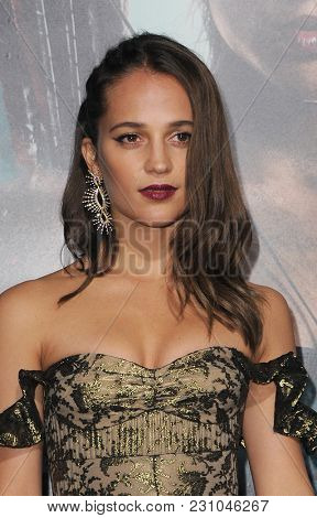 Alicia Vikander at the Los Angeles premiere of 'Tomb Raider' held at the TCL Chinese Theatre IMAX in Hollywood, USA on March 12, 2018.