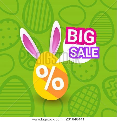 Big Sale On Easter Holiday Greeting Card Poster Discounts Banner Egg With Bunny Ears On Green Backgr