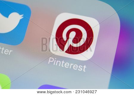 Sankt-petersburg, Russia, March 13, 2018: Pinterest Application Icon On Apple Iphone 8 Smartphone Sc