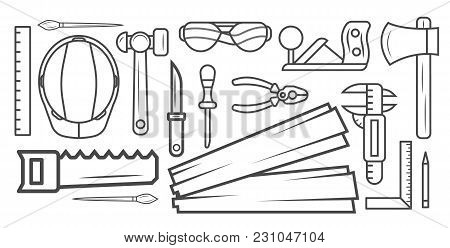 Woodworking Instrument Black And White Sketch  Illustration. Carpentry Professional Service, Forest