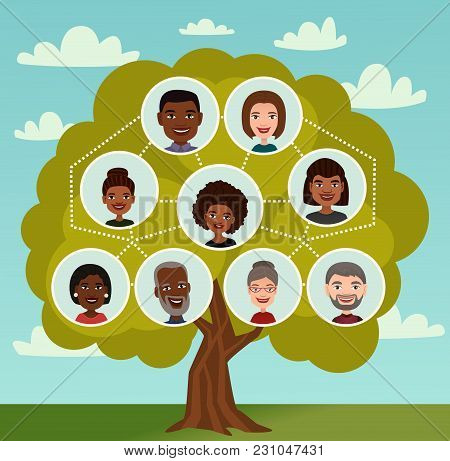 Big Family Tree With People Avatar Icons Vector Illustration. Genealogical Tree With Grandparents, P