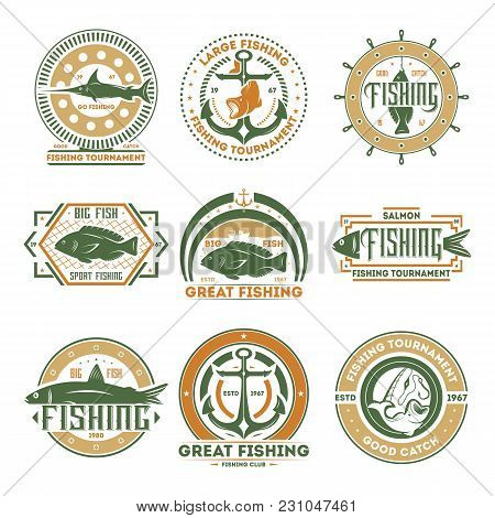 Great Fishing Tournament Vintage Isolated Label Vector Illustration. Good Catch Symbol. Big Fish Ico