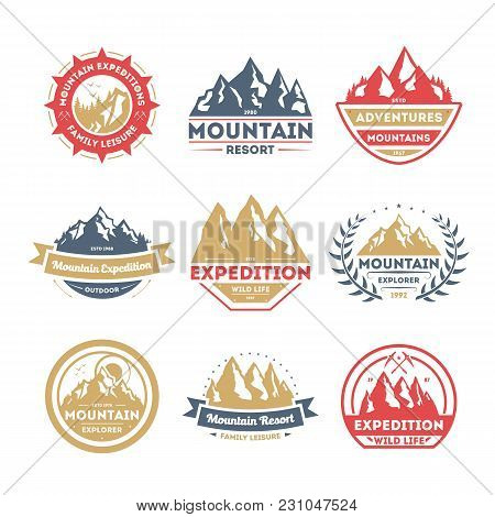 Mountain Explorer Vintage Isolated Label Vector Illustration. Family Leisure Symbol. Mountain Expedi