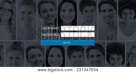 Login page against people collage portrait 7 wide