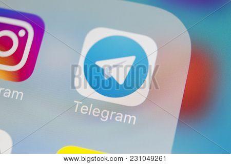 Sankt-petersburg, Russia, March 13, 2018: Telegram Application Icon On Apple Iphone X Screen Close-u