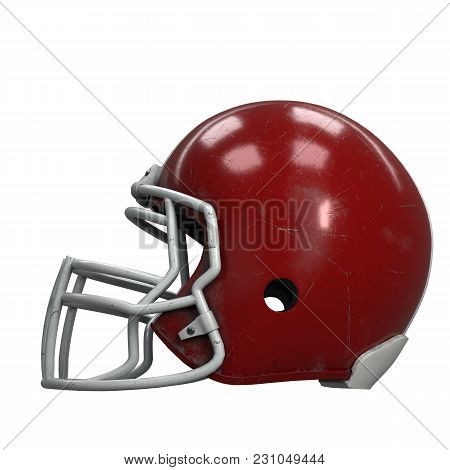 Old American Football Helmet. Red Helmet With Dirt And Scratches. Side View. Oldschool Used Sport Eq