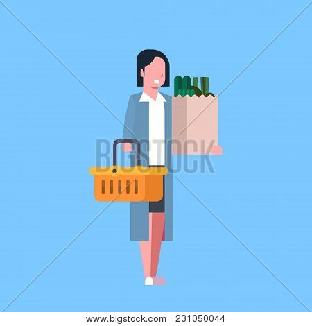Young Woman Shopping Holding Paper Bag And Basket Full Of Grocery Products Flat Vector Illustration