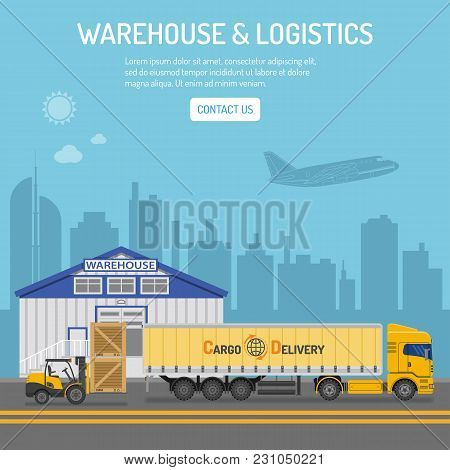 Warehouse, Logistics Banner And Infographics With Flat Icons Delivery, Truck, Cityline And Forklift.