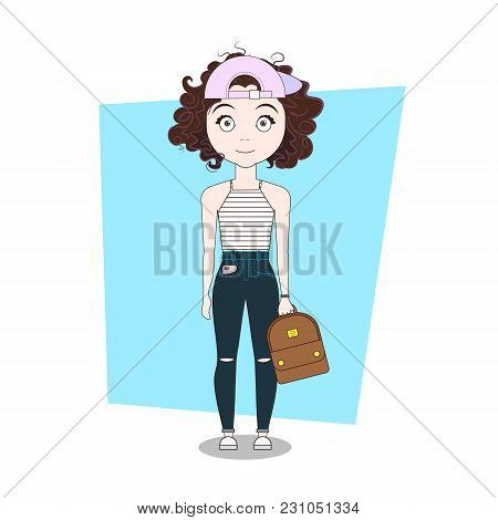 Doodle Cartoon Hipster Girl In Modern Stylish Clothes Vector Illustration