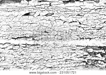 Grunge Black-white Background: Old Texture With Peeling Paint And Cracks