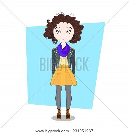 Cartoon Hipster Curly Girl In Modern Casual Clothes Vector Illustration