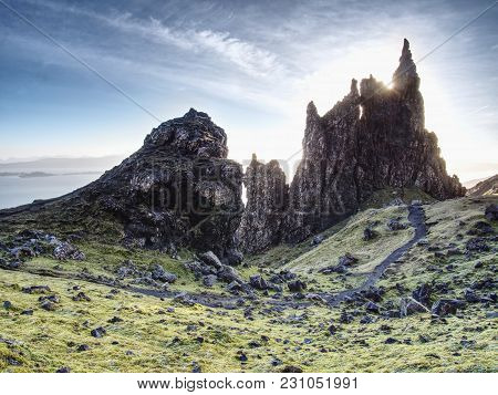 The Old Man Of Storr Is One Of The Most Photographed Wonders In The World. The Isle Of Skye, Highlan