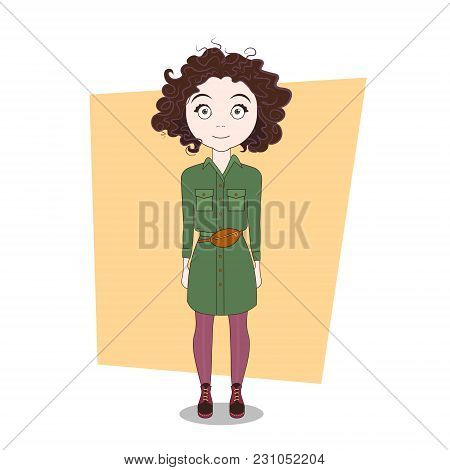 Cute Cartoon Hipster Girl In Modern Stylish Clothes Vector Illustration