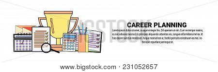 Career Planning Personal Development Concept Horizontal Banner With Copy Space Vector Illustration