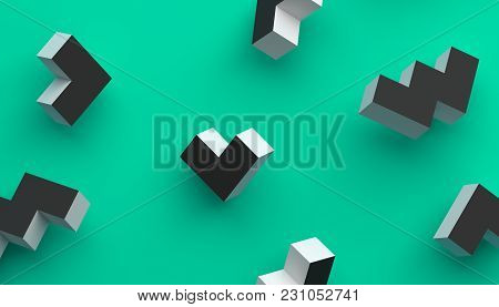 Abstract 3d Rendering Of Geometric Shapes. Modern Background With Simple Forms. Minimalistic Design