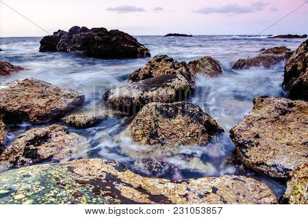 Long Exposure Picture Of The Sea Coast In Tenerife