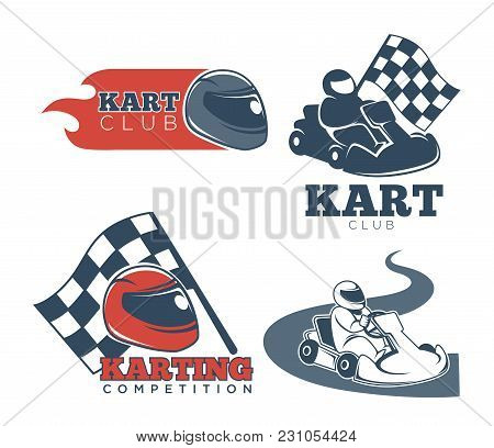 Kart Club Promotional Emblems Set With Protective Helmets, Professional Drivers, Checkered Flag, Red