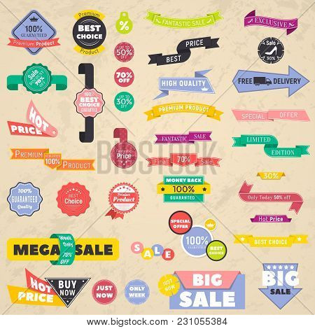 Set Of Discount Banners. Representing Labels Stickers Banners Collection. Vector Illustration
