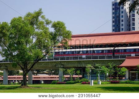 Singapore - Feb 8, 2018. View Of Chinese Garden Mrt Station In Singapore. The Mrt Network Encompasse