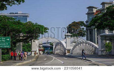 Singapore - Feb 9, 2018. Cavenagh Bridge Over The Singapore River. The Bridge Is The Only Suspension