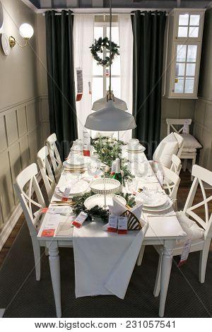 St. Petersburg, Russia - 13 January, Interior Dining Area, 13 January, 2018. Festive Design Of Inter
