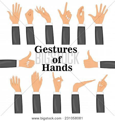 Set Hands In Different Gestures Isolated On White Background. Colored Hand Gesture Set With Manicure