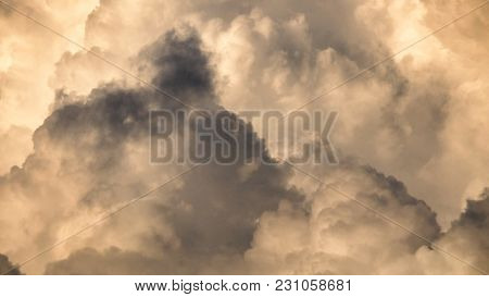 Dramatic Sky With Dark Clouds Before Rains For Background Texture