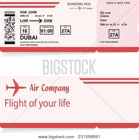 Red Vector Airline Passenger And Baggage Boarding Pass Ticket With Barcode. Concept Of Travel Or Jou