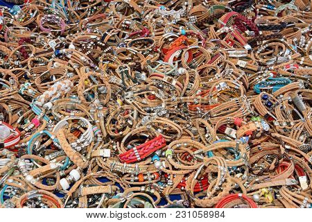 Cork Friendship Bracelets On A Market Stall, Lagos, Algarve, Portugal, Europe.