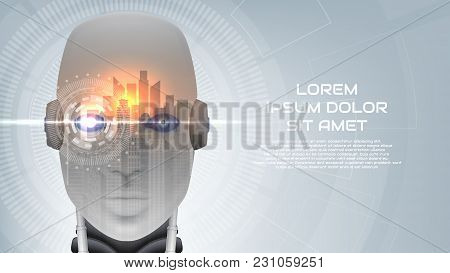 Modern Concept Banner With Robot Cybernetic Organism. Vector Illustration With City Landscape. Techn