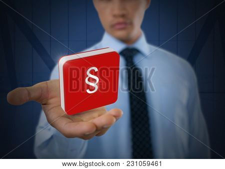 Digital composite of Section symbol icon and Businessman with hands palm open and dark background