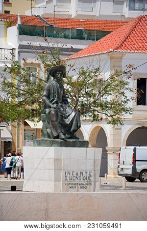 Lagos, Portugal - June 9, 2017 - Statue Of Infante Dom Henrique (prince Henry) In The Town Square Wi