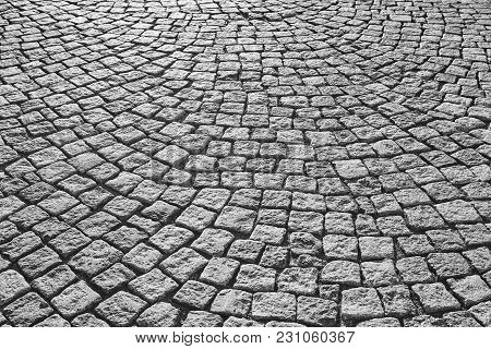 Street Paving Stone In Black And White. Antique Urban Sidewalk