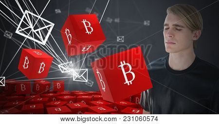 Digital composite of Bit coin icon symbols and Businessman thinking and dark background