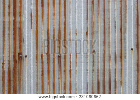 Old Metal Sheet Roof Texture. Pattern Of Old Metal Sheet. Rusty Metal Sheet Texture.