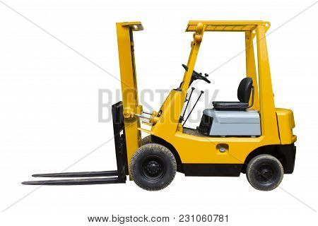 Old Forklift Truck For Industrial Isolated On White Background With Clipping Path.